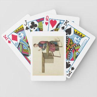 Una mujer que prepara té, platea 21 'del traje barajas de cartas
