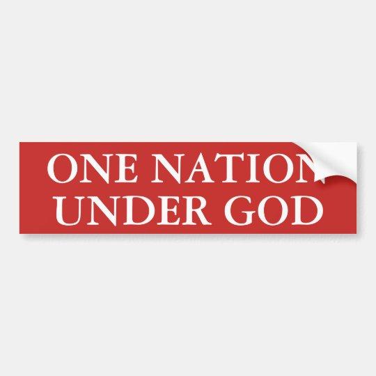 Una nación debajo de dios pegatina para coche