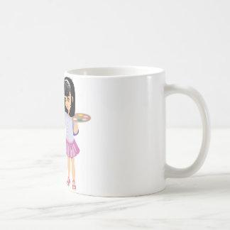 Una niña con una paleta de la pintura taza de café