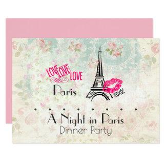 Una noche en fiesta de cena de París Invitación 12,7 X 17,8 Cm