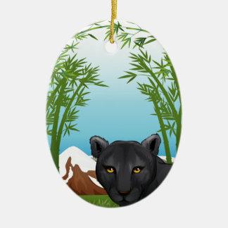 Una pantera negra en el bosque de bambú adorno ovalado de cerámica