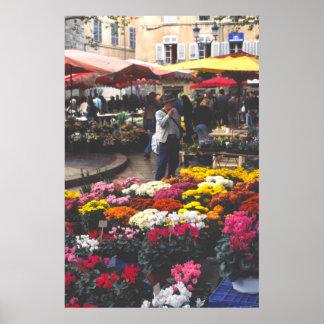 Una parada de la flor, día de mercado, Aix-en-Prov Posters