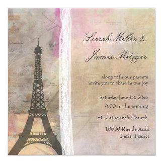 Una pequeña París… que un poco boda del cordón Invitación 13,3 Cm X 13,3cm