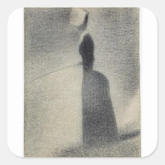 Una pesca de la mujer (creyón del conte) pegatina cuadrada