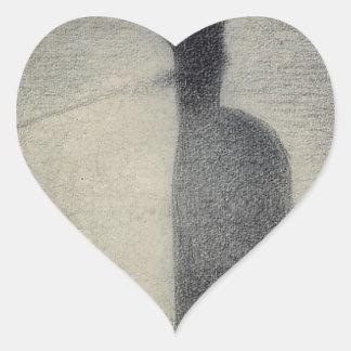 Una pesca de la mujer (creyón del conte) pegatina en forma de corazón