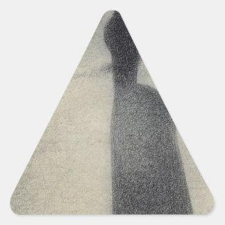 Una pesca de la mujer (creyón del conte) pegatina triangular