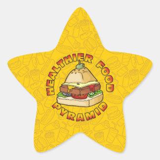 Una pirámide de alimentación más sana pegatina en forma de estrella