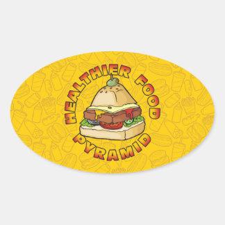 Una pirámide de alimentación más sana pegatina ovalada