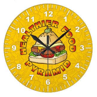 Una pirámide de alimentación más sana reloj redondo grande