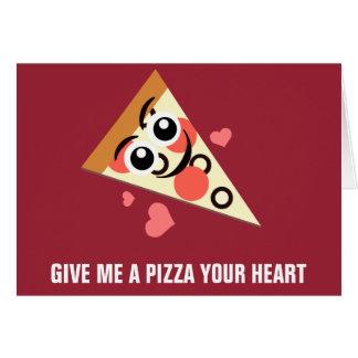 Una pizza su corazón tarjeta de felicitación
