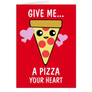 Una pizza su el día de San Valentín del corazón Tarjeta De Felicitación
