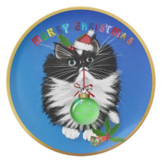Una placa del navidad del gatito del smoking platos para fiestas