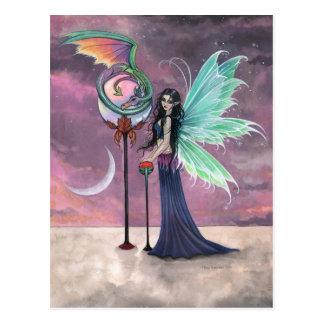 Una postal ideal viva de la hada y del dragón
