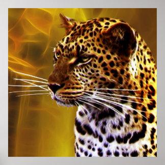Una postura del leopardo poster