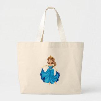 Una princesa joven feliz bolsas lienzo