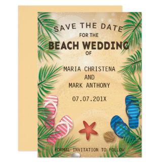 Una reserva del boda de playa la invitación de la