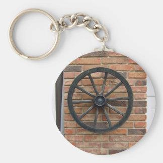 Una rueda vieja del carro en una pared de ladrillo llavero redondo tipo chapa