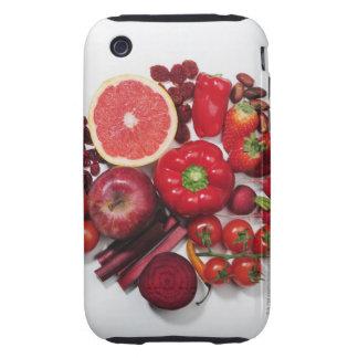 Una selección de frutas y de verduras rojas carcasa though para iPhone 3
