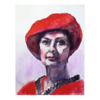 Una señora en rojo postal