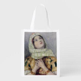 Una señora joven en vestido del turco (w/c sobre e bolsa para la compra