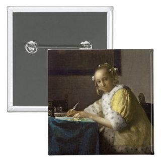 Una señora Writing, C. 1665 (aceite en lona) Pin
