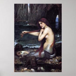 Una sirena por J W WaTERHOuSE, 1901 Póster