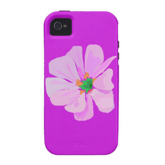 Una sola flor rosada vibe iPhone 4 fundas