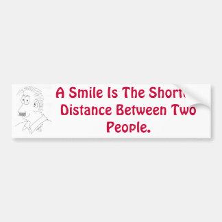 Una sonrisa es la distancia más corta entre la gen pegatina de parachoque