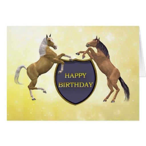 Una tarjeta de cumpleaños con alzar caballos | Zazzle