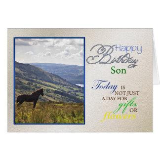 Una tarjeta de cumpleaños del caballo para el hijo