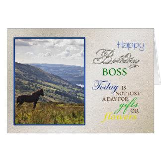 Una tarjeta de cumpleaños del caballo para el jefe