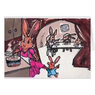Una tarjeta del conejito para la mamá o las