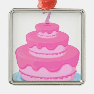 una torta de cumpleaños adorno cuadrado plateado