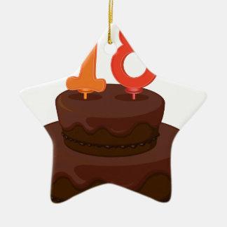 una torta de cumpleaños adorno de cerámica en forma de estrella