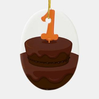 una torta de cumpleaños adorno ovalado de cerámica