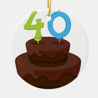 una torta de cumpleaños adorno redondo de cerámica