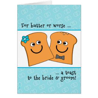 Una tostada sensiblera a la novia y al novio que tarjeta