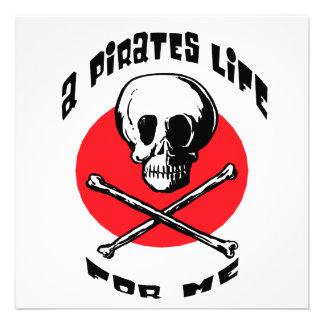 Una vida de los piratas para mí invitacion personalizada