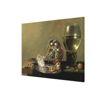 Una vida inmóvil con el vidrio de vino impresiones en lona estiradas