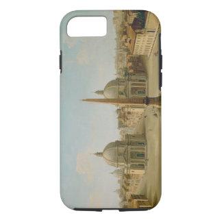 Una vista de la plaza del Popolo (aceite en lona) Funda iPhone 7