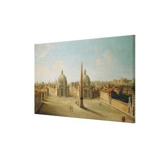 Una vista de la plaza del Popolo (aceite en lona) Impresión En Lienzo