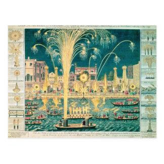 Una vista de los fuegos artificiales y de las postal