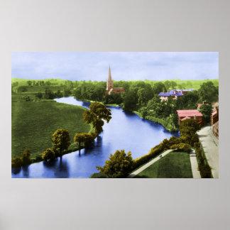Una vista de Stratford-sobre-Avon Póster
