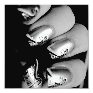 Uñas del diseñador invitación 13,3 cm x 13,3cm