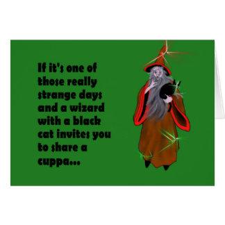 "Únase a a un mago para una tarjeta de ""Cuppa"""