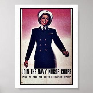 Únase a al cuerpo de enfermera de la marina de póster