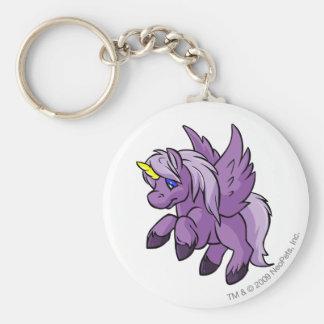 Uni púrpura llavero redondo tipo chapa