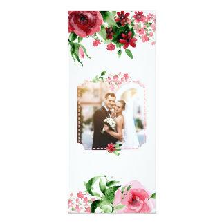 Único floral de la foto del boda de la tarjeta de invitación 10,1 x 23,5 cm