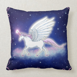 Unicornio alado con estrellas cojín decorativo