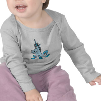 unicornio azul claro del dibujo animado camiseta